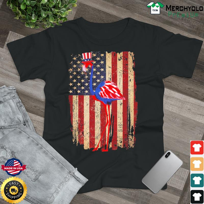 Flamingo Hat American Flag 4th Of July Shirt