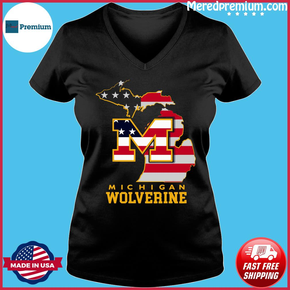 Michigan Wolverine American Map Flag Shirt Ladies V-neck
