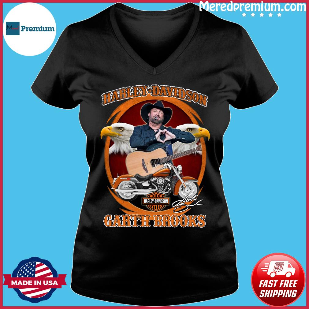 Motor Harley Davidson Cycles Garth Brooks Signature Shirt Ladies V-neck