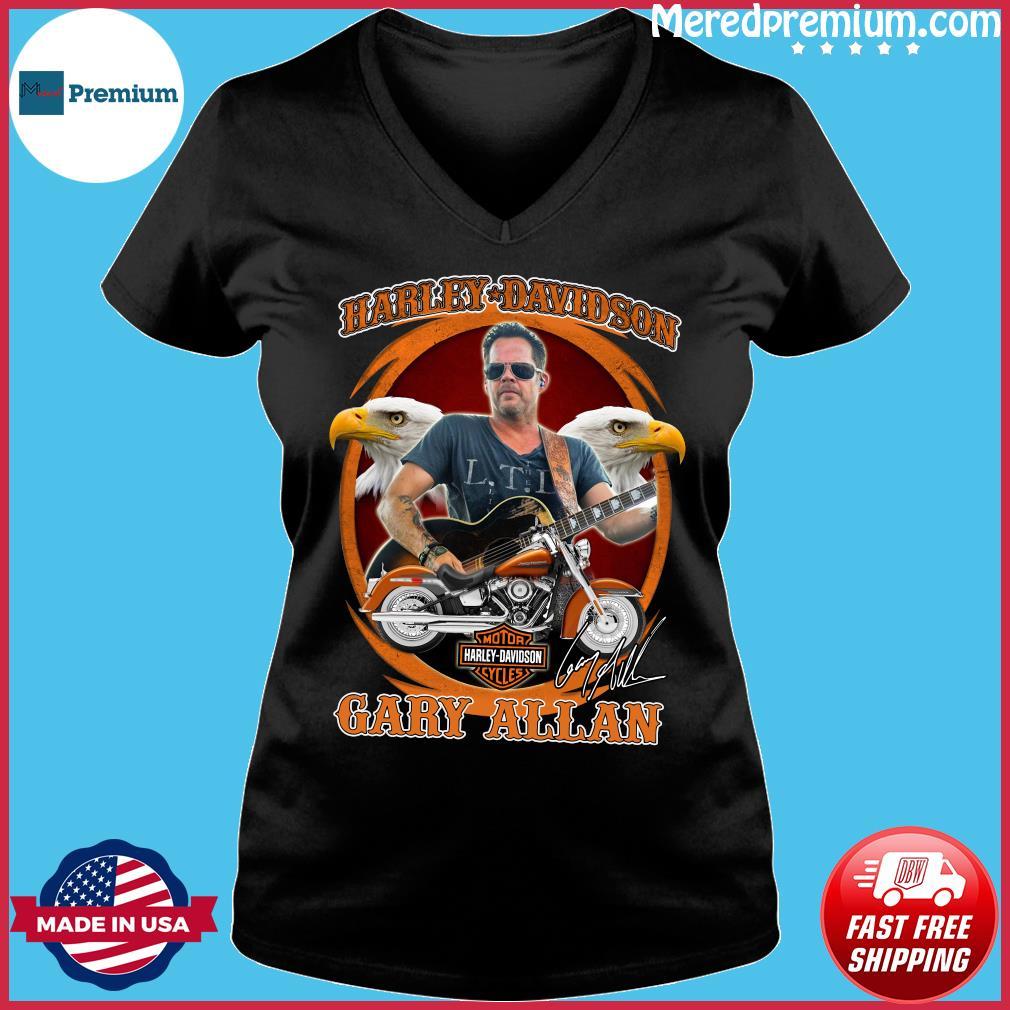 Motor Harley Davidson Cycles Gary Allan Signature Shirt Ladies V-neck