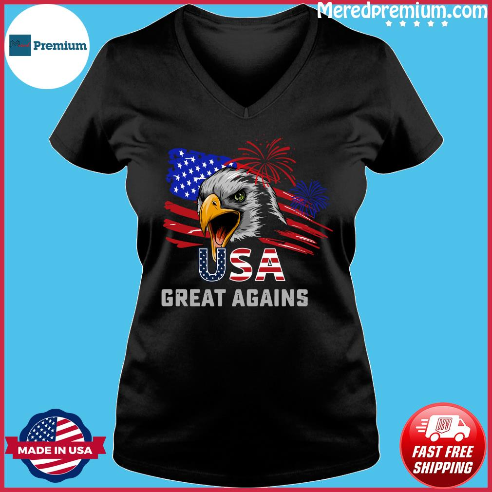 Usa Great Again 4th Of July Bald Eagle American Flag Shirt Ladies V-neck