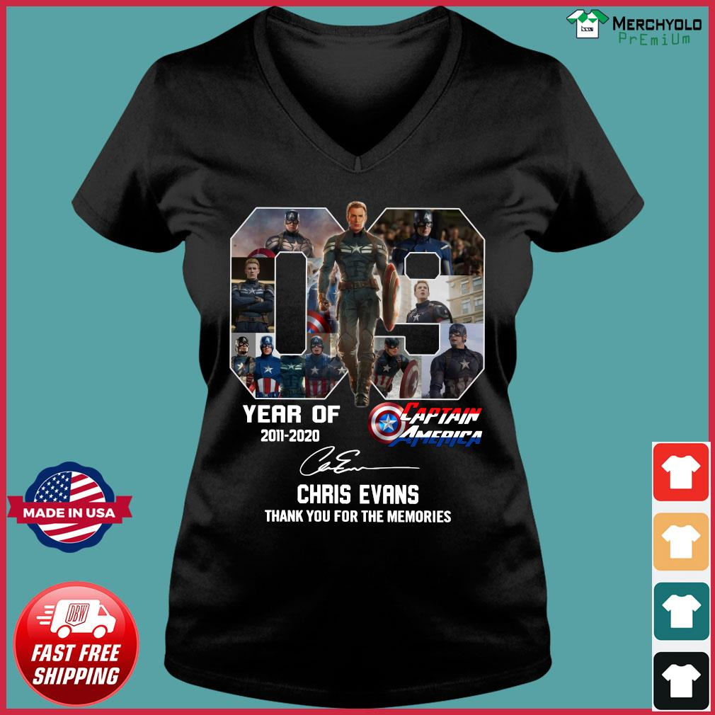 09 Years Of Captain America 2011 2020 Chris Evans Thank You For The Memories Signature Shirt Ladies V-neck Tee