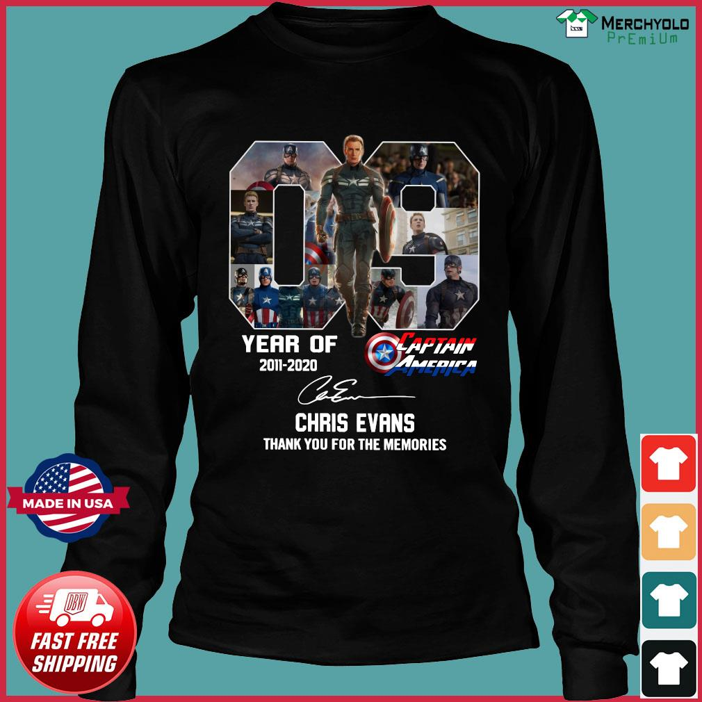 09 Years Of Captain America 2011 2020 Chris Evans Thank You For The Memories Signature Shirt Long Sleeve