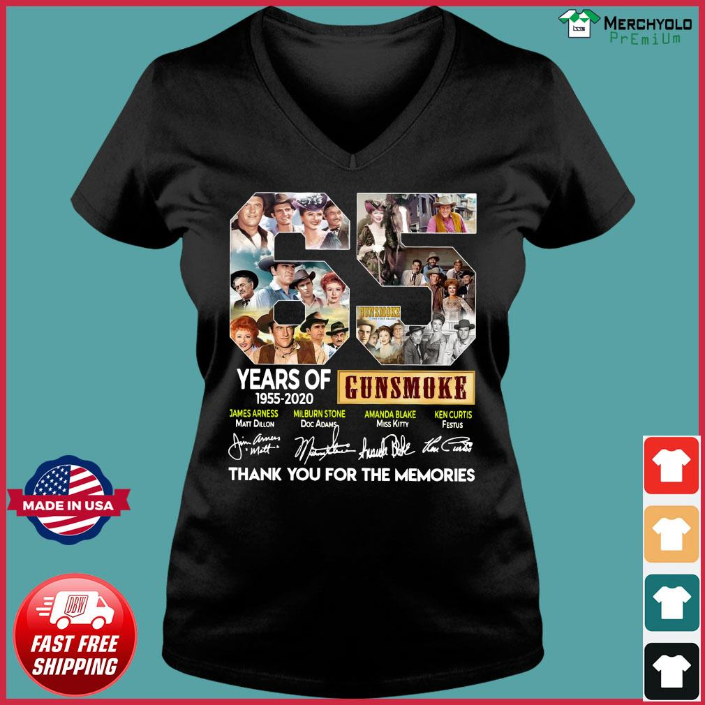 65 Years Of Gunsmoke 1955 2020 Thank You For The Memories Signatures Shirt Ladies V-neck Tee