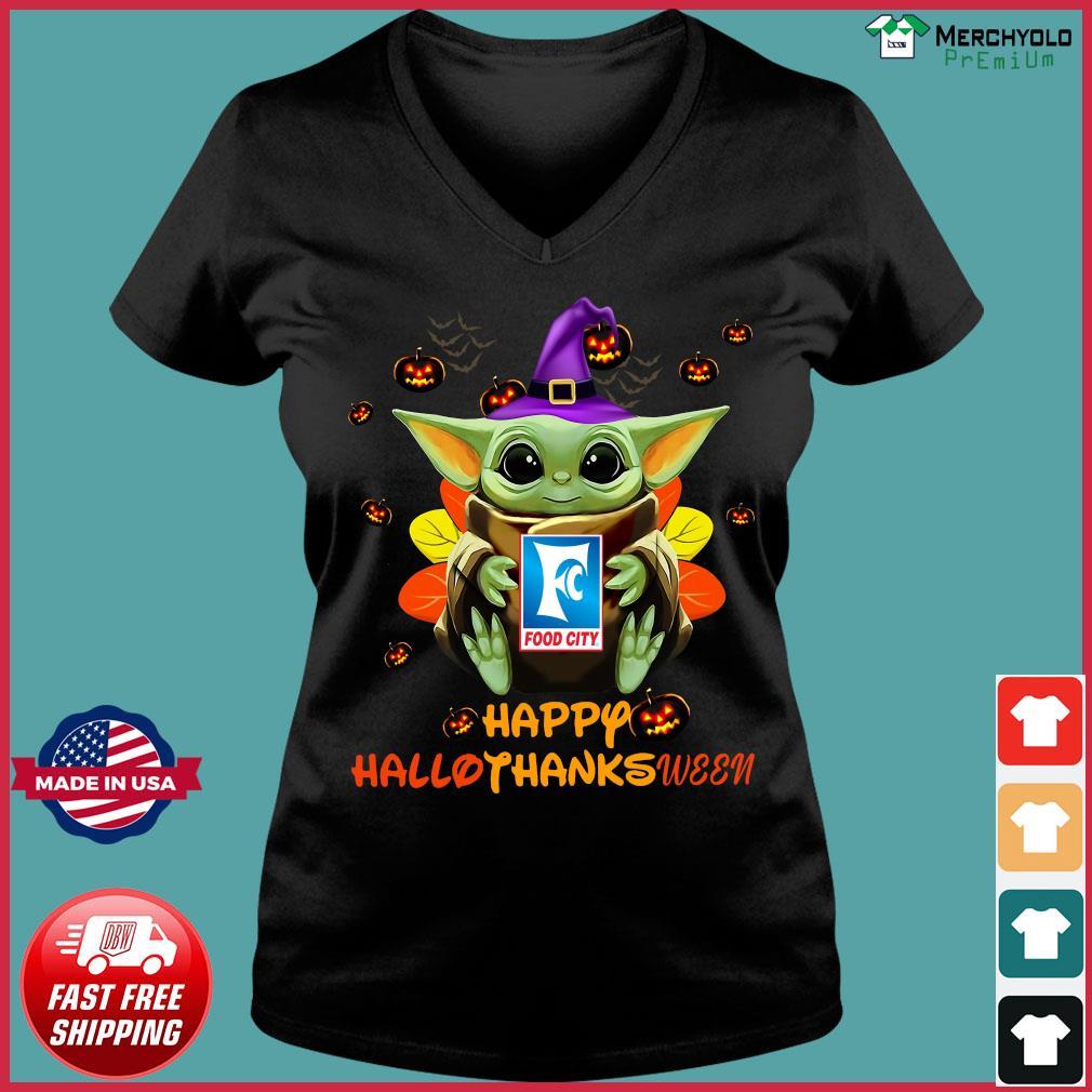 Baby Yoda Witch Hug Food City Happy Hallothanksween Shirt Ladies V-neck Tee