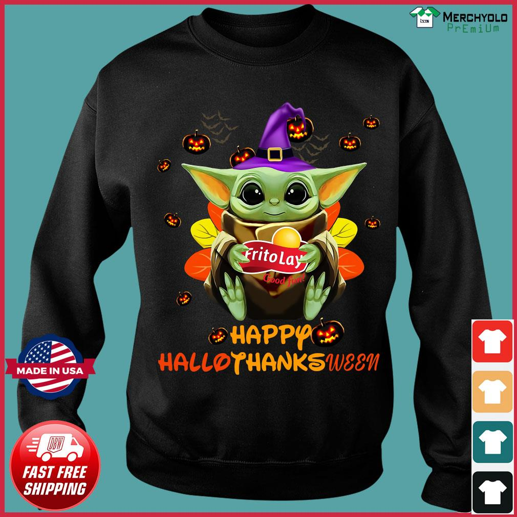 Baby Yoda Witch Hug Frito Lay Good Fun Happy Hallothanksween Shirt Sweater
