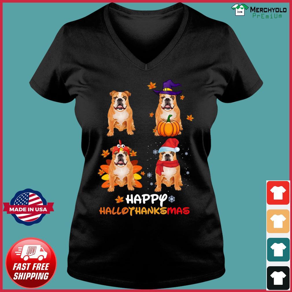 Bulldog Happy Hallothanksmas Shirt Ladies V-neck Tee