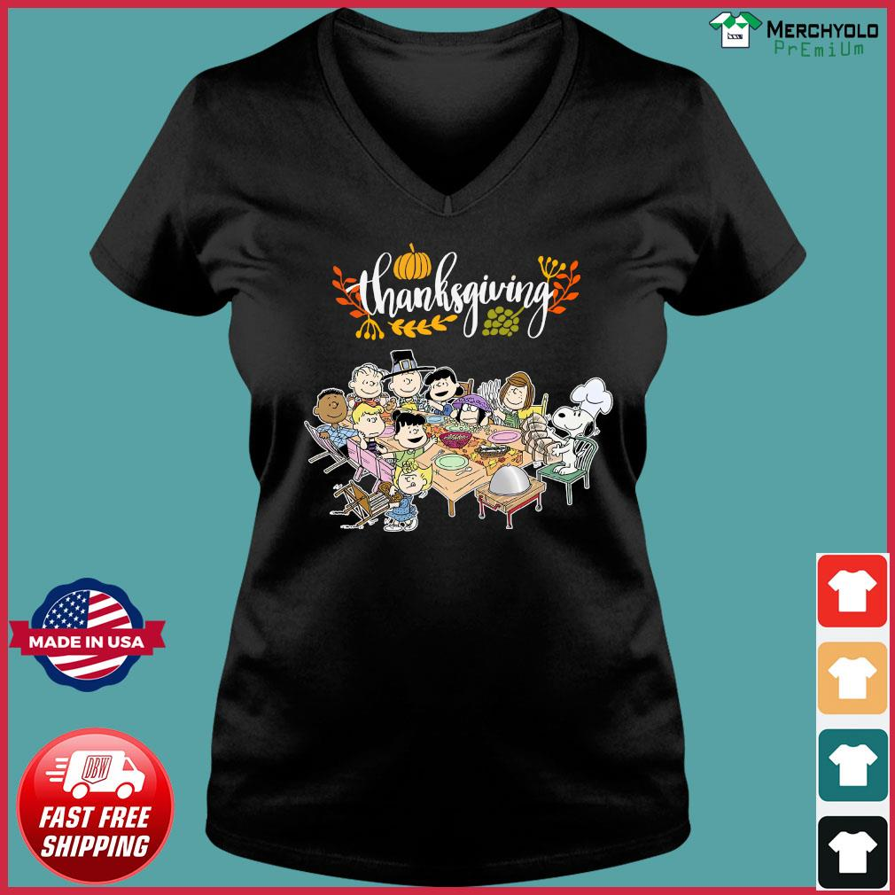 Charlie Brown And The Peanuts Snoopy Thanksgiving Shirt Ladies V-neck Tee