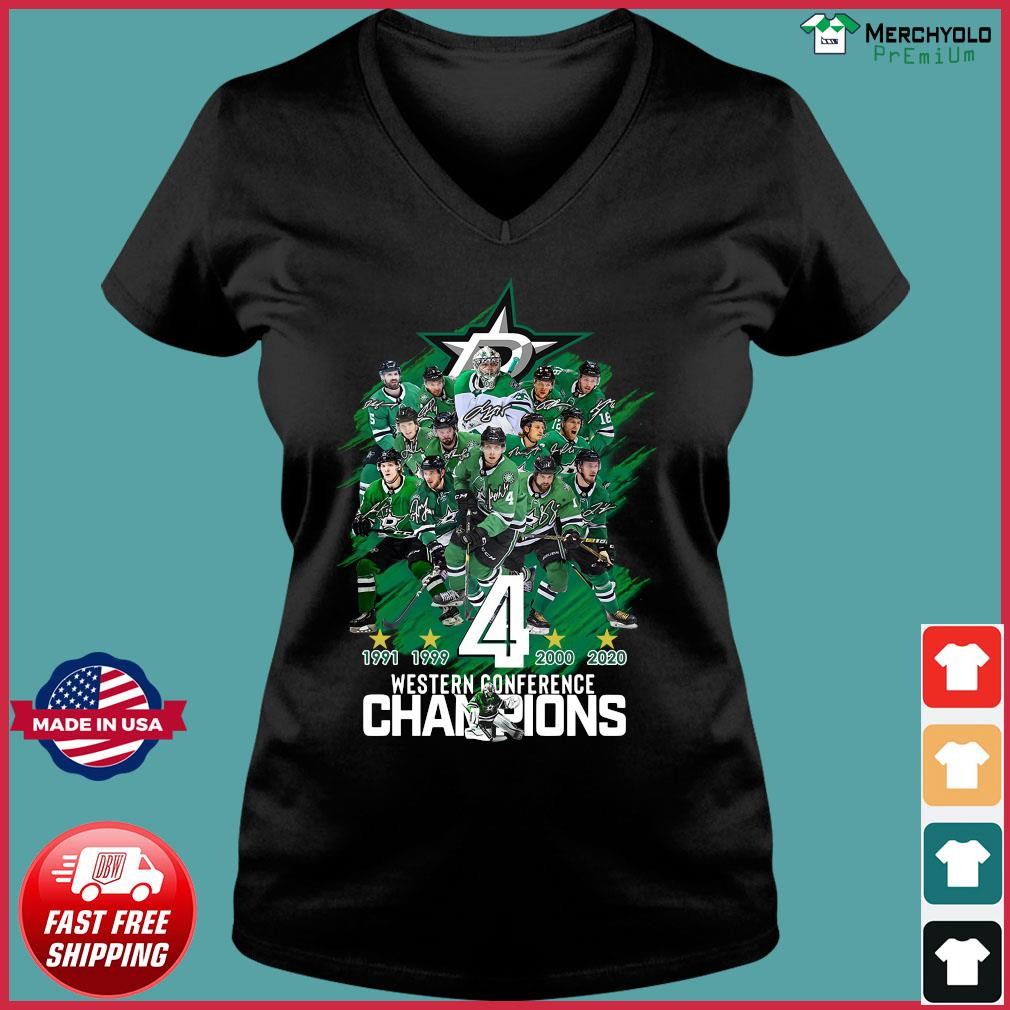 Dallas Stars player Western Conference Champions signatures s Ladies V-neck Tee