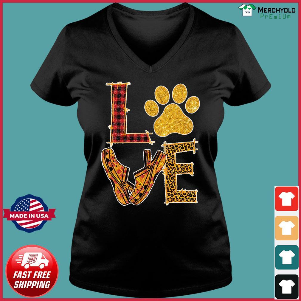 Love Paw Dog Crocs Shirt Ladies V-neck Tee