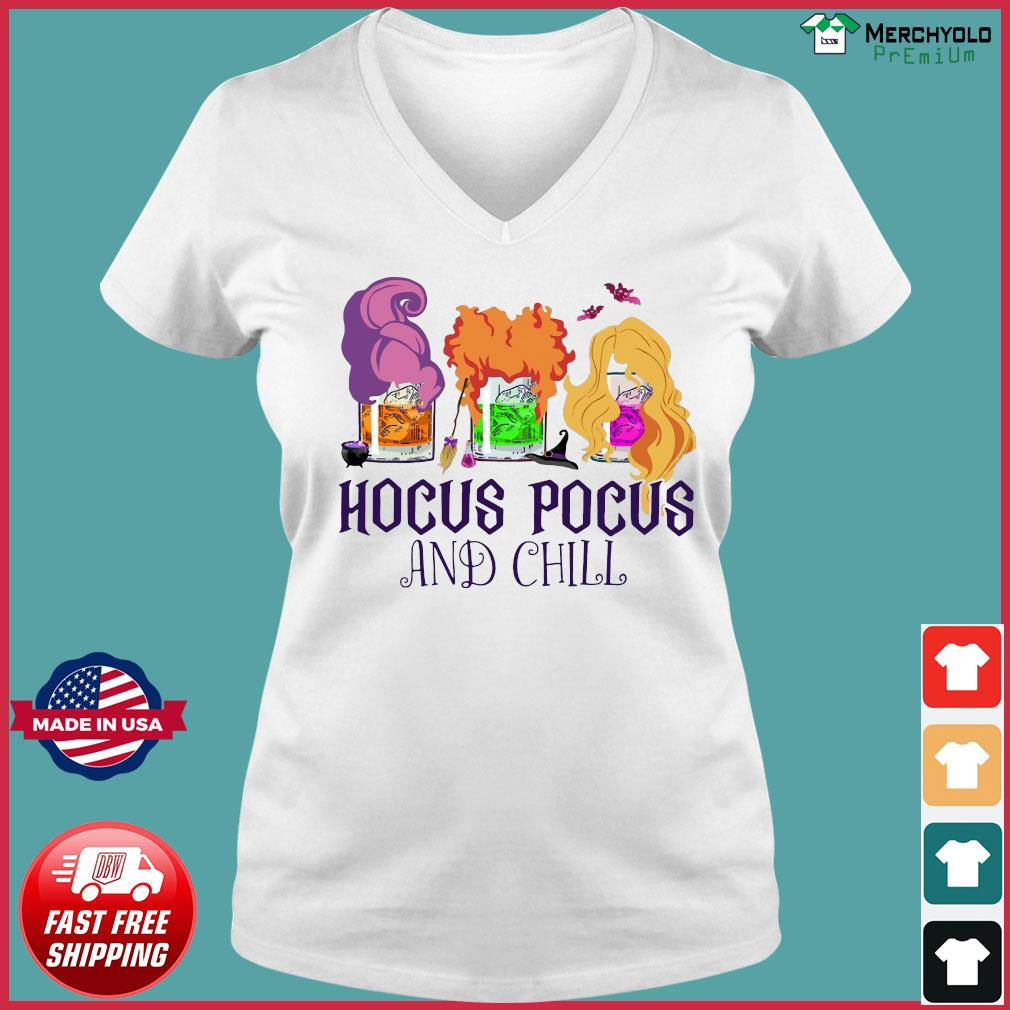 Official Hocus Pocus And Chill Halloween T-Shirt Ladies V-neck Tee
