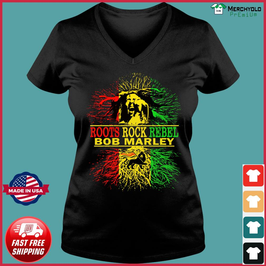 Roots Rock Rebel Bob Marley Shirt Ladies V-neck Tee
