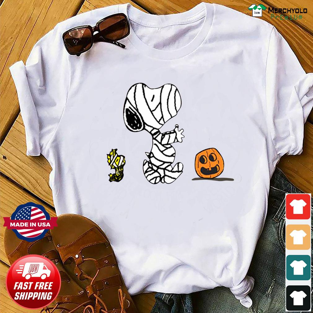 Snoopy Mummies and Woodstock pumpkin Halloween shirt