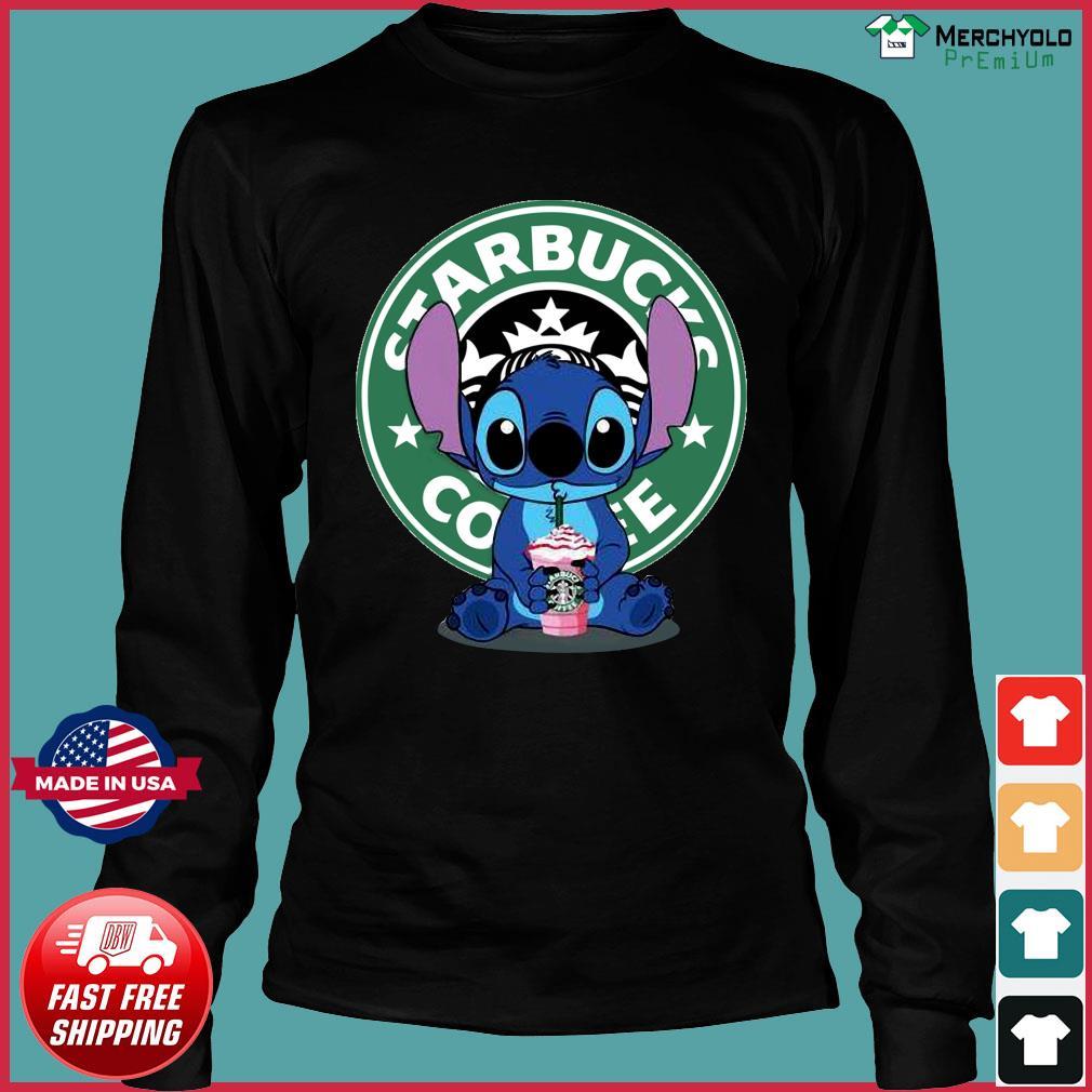 Stitch Drinking Starbucks Coffee Shirt Long Sleeve