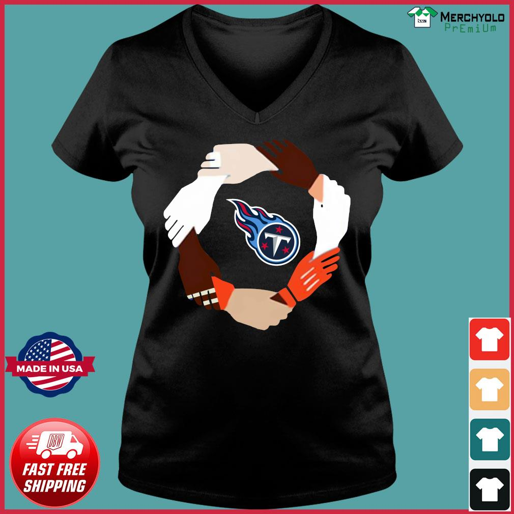 Tennessee Titans Hand By Hand Shirt Ladies V-neck Tee