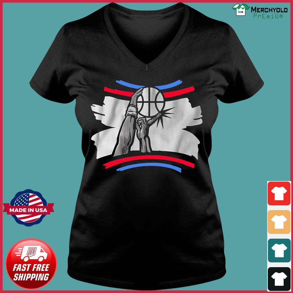 The Finger Block Los Angeles Basketball 2020 Funny Shirt Ladies V-neck Tee