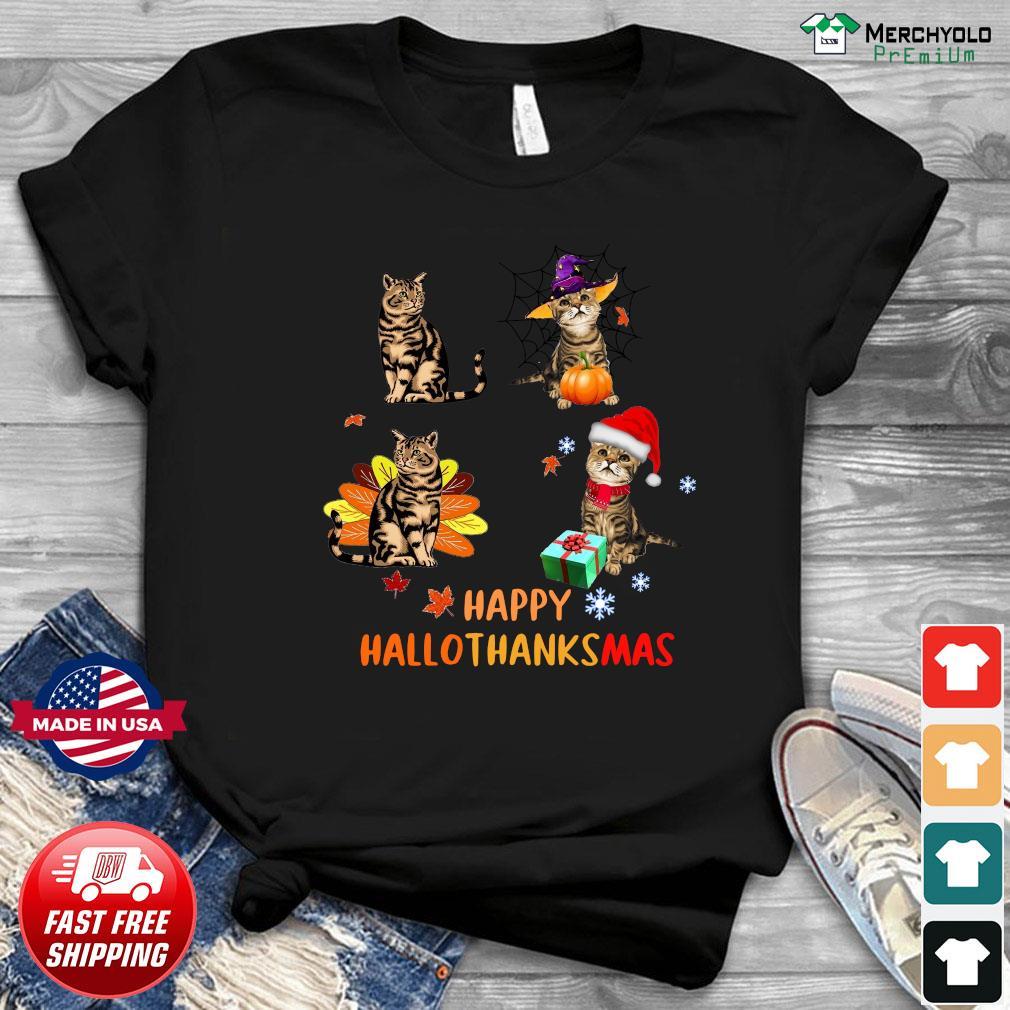 Official Baby Cat Happy Hallothanksmas Shirt