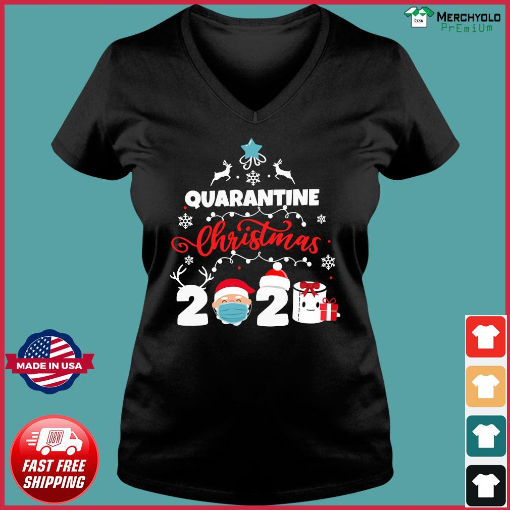 Xmas Quarantine Christmas 2020 Social distancing Christmas Shirt Ladies V-neck Tee