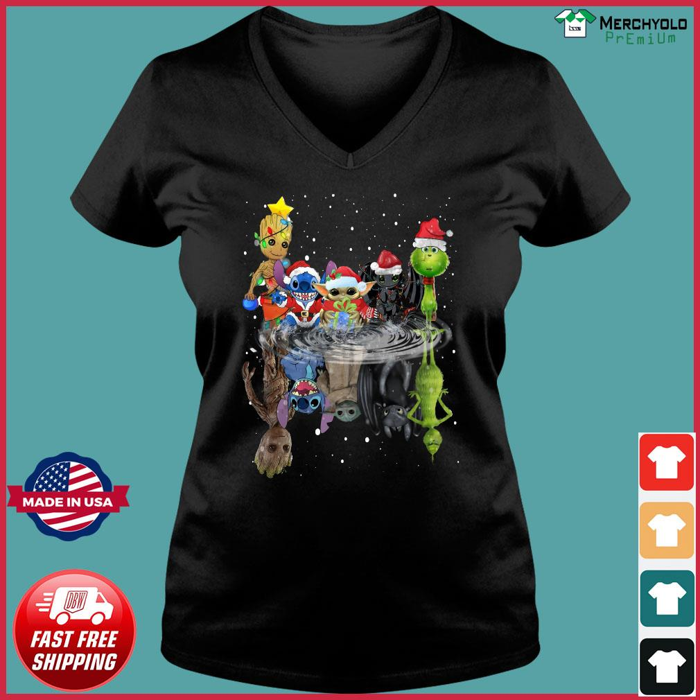 Baby Groot Baby Yoda Stitch Grinch Chibi Characters Water Mirror Reflection Christmas Sweats Ladies V-neck Tee