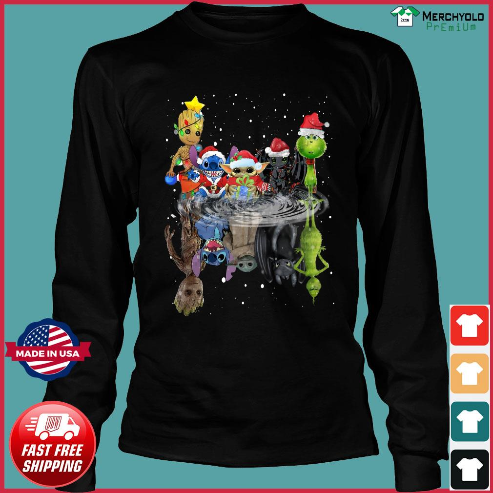 Baby Groot Baby Yoda Stitch Grinch Chibi Characters Water Mirror Reflection Christmas Sweats Long Sleeve