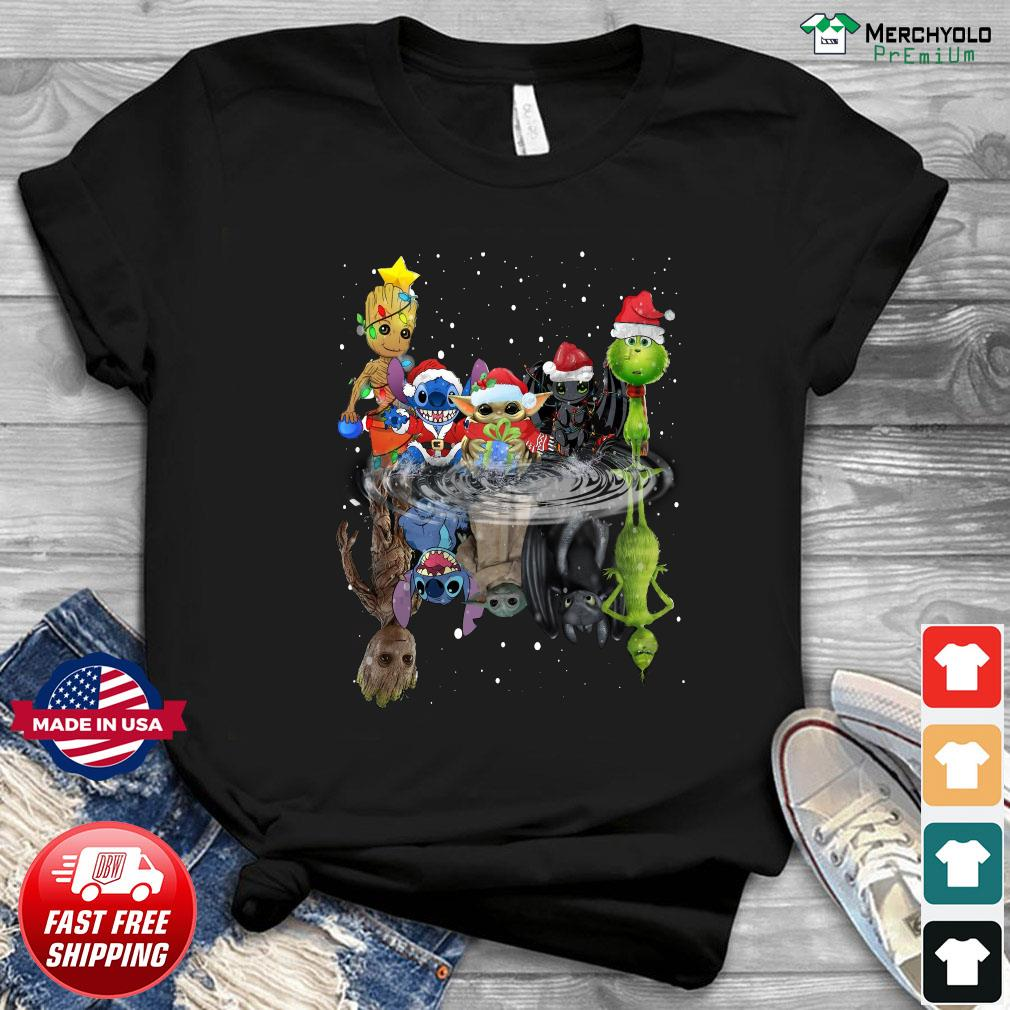 Baby Groot Baby Yoda Stitch Grinch Chibi Characters Water Mirror Reflection Christmas Sweats Shirt