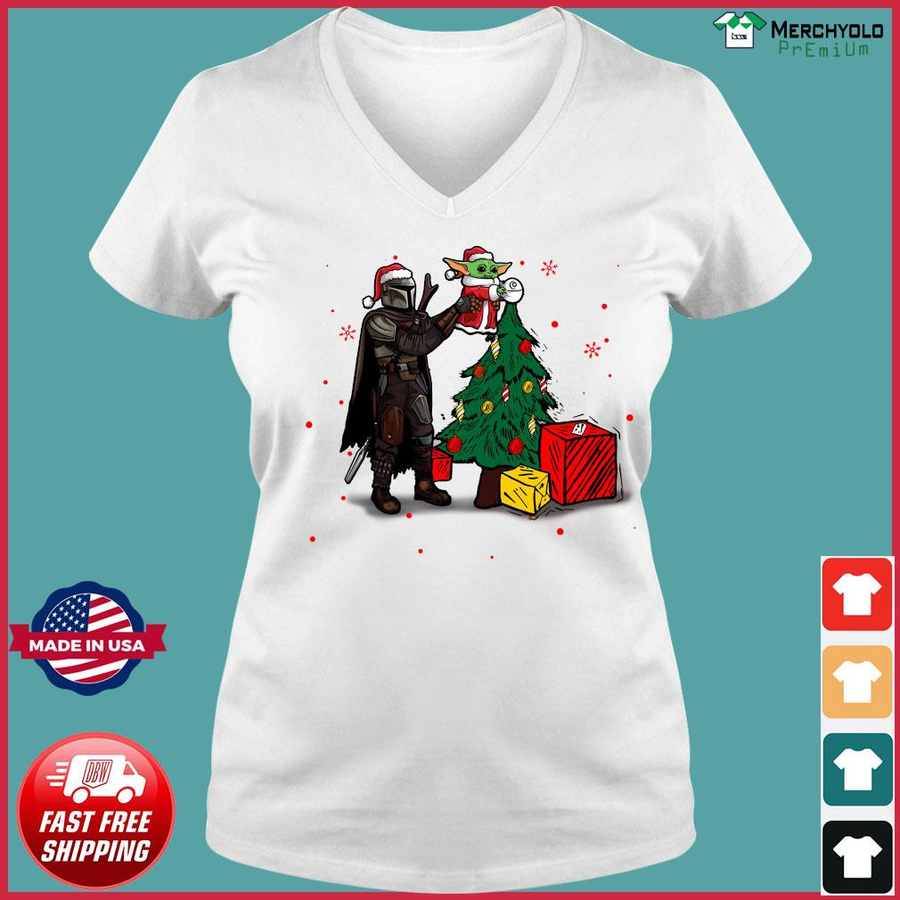 Baby Yoda The Mandalorian Star Wars Christmas 2020 Christmas Sweats Ladies V-neck Tee