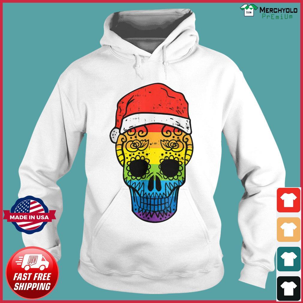 Gay Pride Santa Hat Sugar Skull LGBT Christmas Mexican Sweats Hoodie