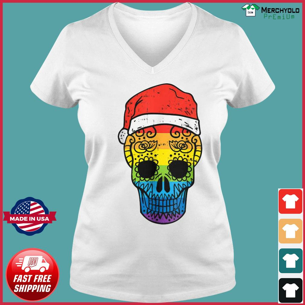 Gay Pride Santa Hat Sugar Skull LGBT Christmas Mexican Sweats Ladies V-neck Tee