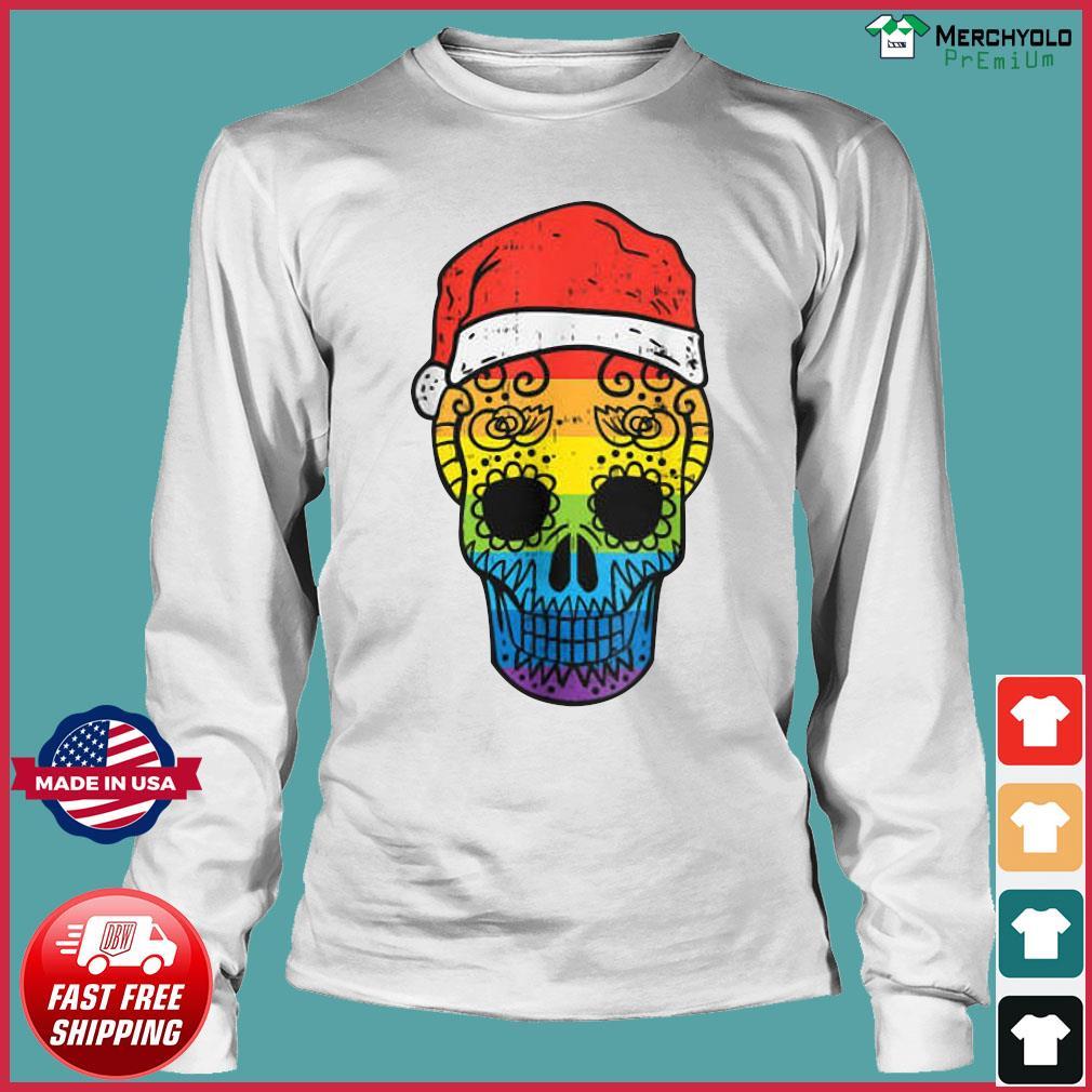 Gay Pride Santa Hat Sugar Skull LGBT Christmas Mexican Sweats Long Sleeve