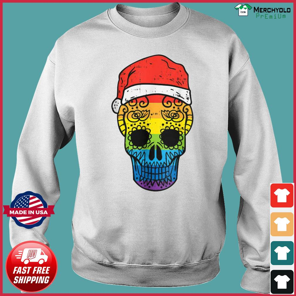 Gay Pride Santa Hat Sugar Skull LGBT Christmas Mexican Sweatshirt
